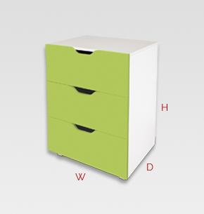 Kids 3 Drawer Storage Unit