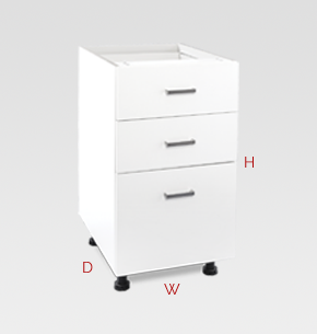 450mm white office drawers - 3 drawers specs and instructions