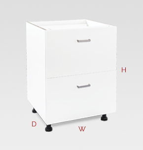 600mm white office drawers - 2 drawers specs and instructions